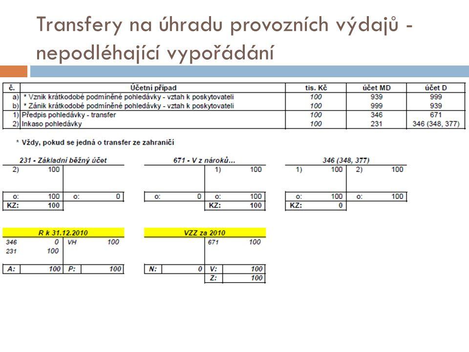 Transfery na úhradu provozních výdajů - nepodléhající vypořádání