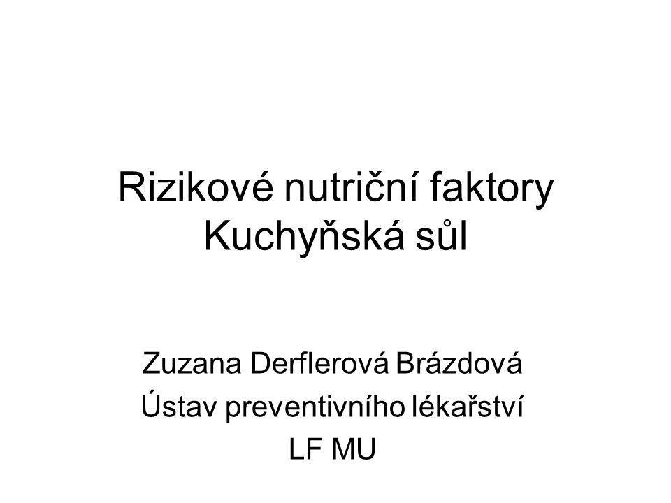 Rizikové nutriční faktory Kuchyňská sůl