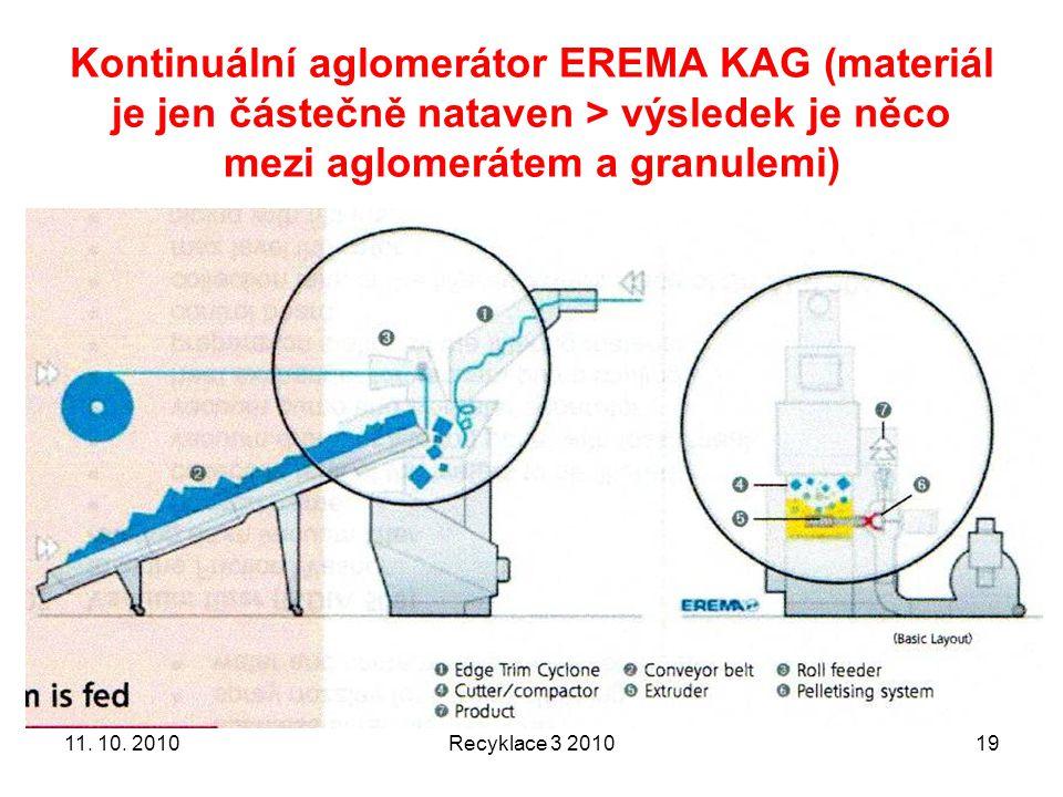 Kontinuální aglomerátor EREMA KAG (materiál je jen částečně nataven > výsledek je něco mezi aglomerátem a granulemi)