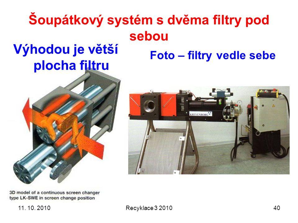 Šoupátkový systém s dvěma filtry pod sebou