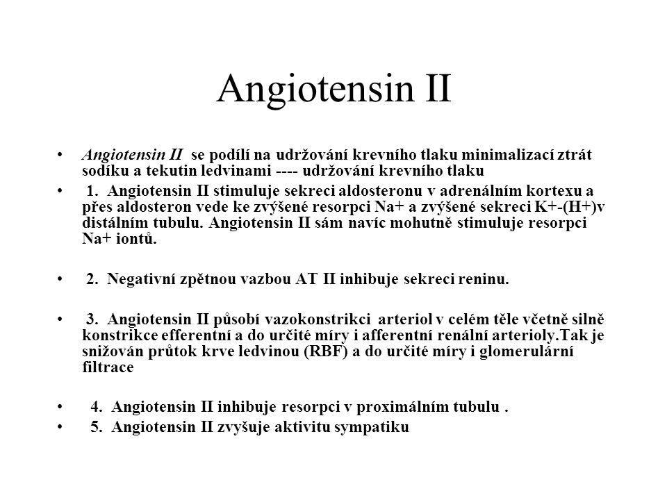 Angiotensin II Angiotensin II se podílí na udržování krevního tlaku minimalizací ztrát sodíku a tekutin ledvinami ---- udržování krevního tlaku.