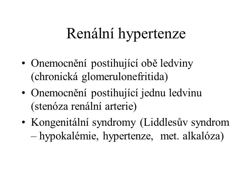 Renální hypertenze Onemocnění postihující obě ledviny (chronická glomerulonefritida) Onemocnění postihující jednu ledvinu (stenóza renální arterie)
