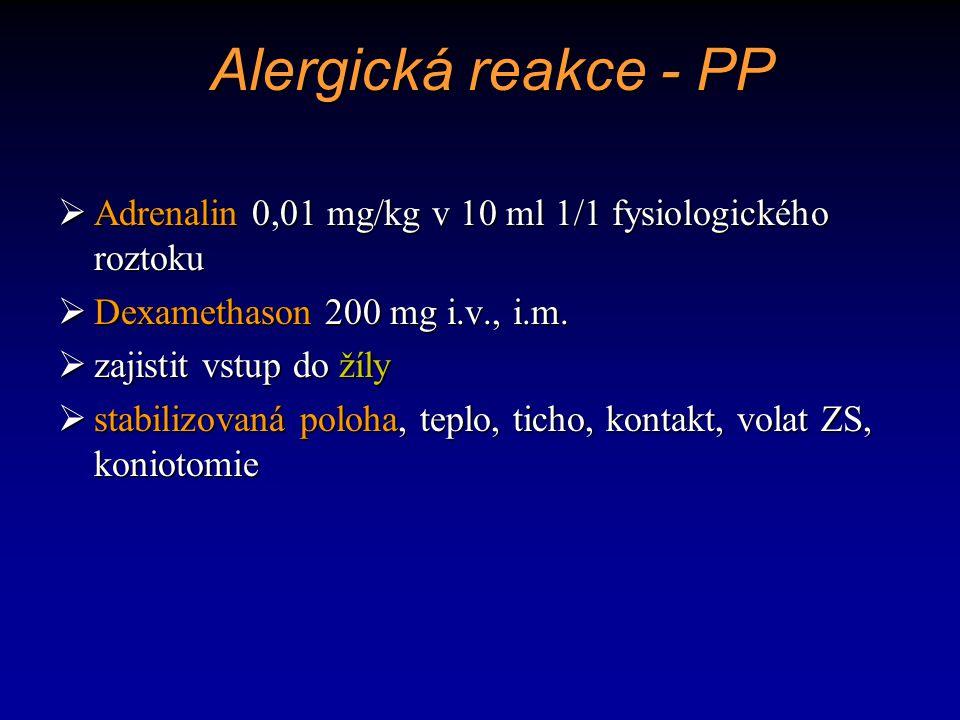 Alergická reakce - PP Adrenalin 0,01 mg/kg v 10 ml 1/1 fysiologického roztoku. Dexamethason 200 mg i.v., i.m.