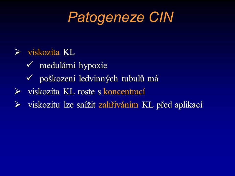 Patogeneze CIN viskozita KL medulární hypoxie