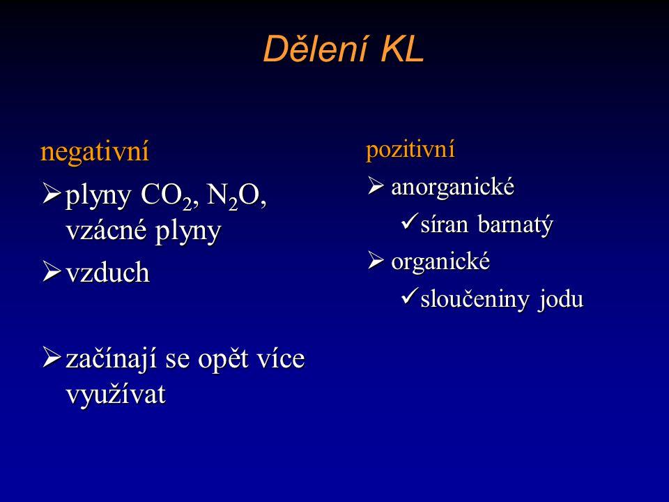 Dělení KL negativní plyny CO2, N2O, vzácné plyny vzduch