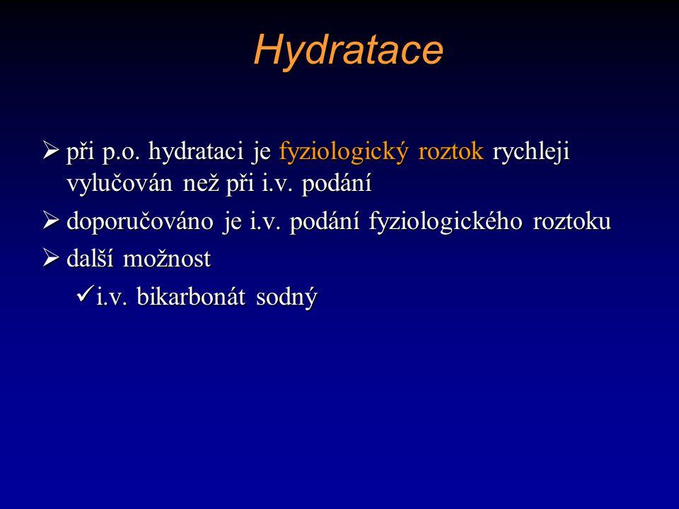 Hydratace při p.o. hydrataci je fyziologický roztok rychleji vylučován než při i.v. podání. doporučováno je i.v. podání fyziologického roztoku.