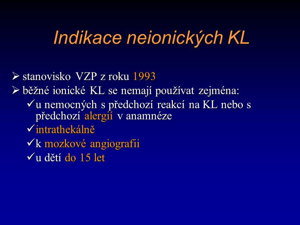 Indikace neionických KL
