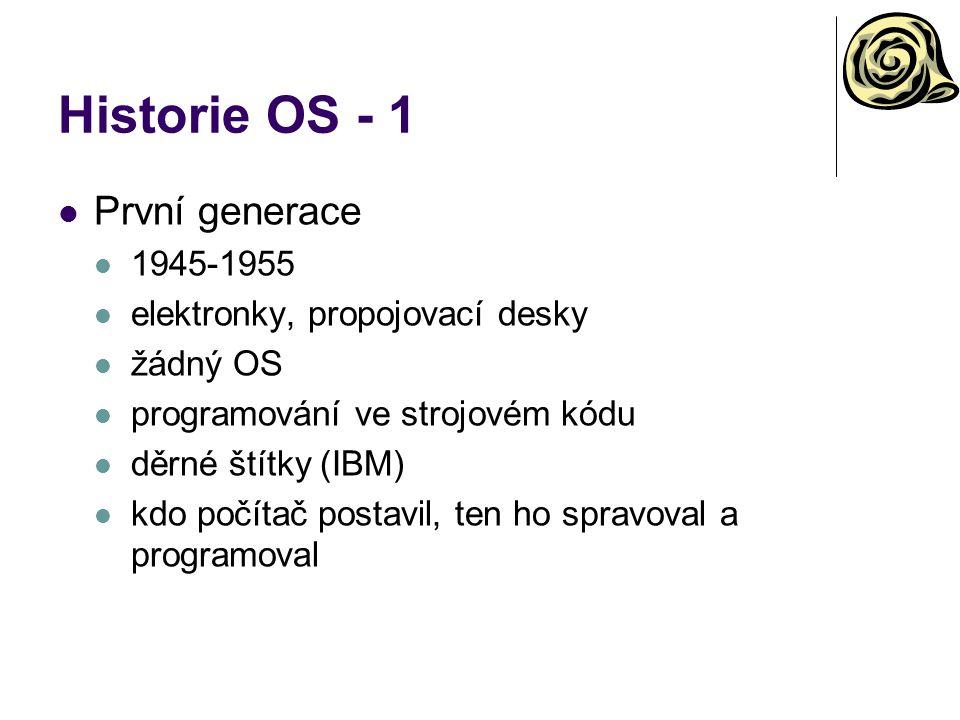 Historie OS - 1 První generace 1945-1955 elektronky, propojovací desky