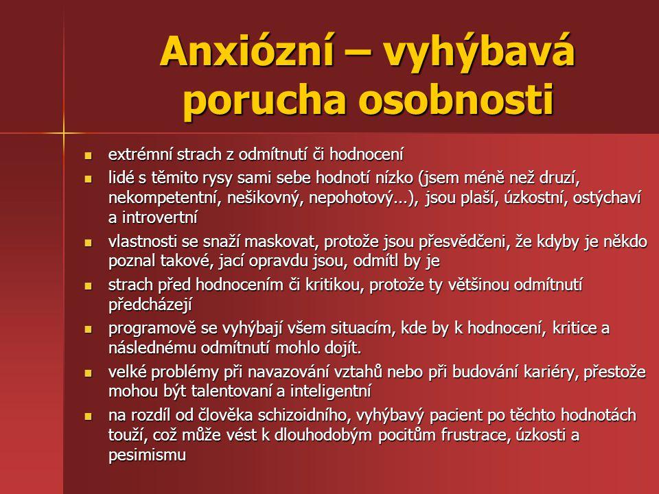 Anxiózní – vyhýbavá porucha osobnosti