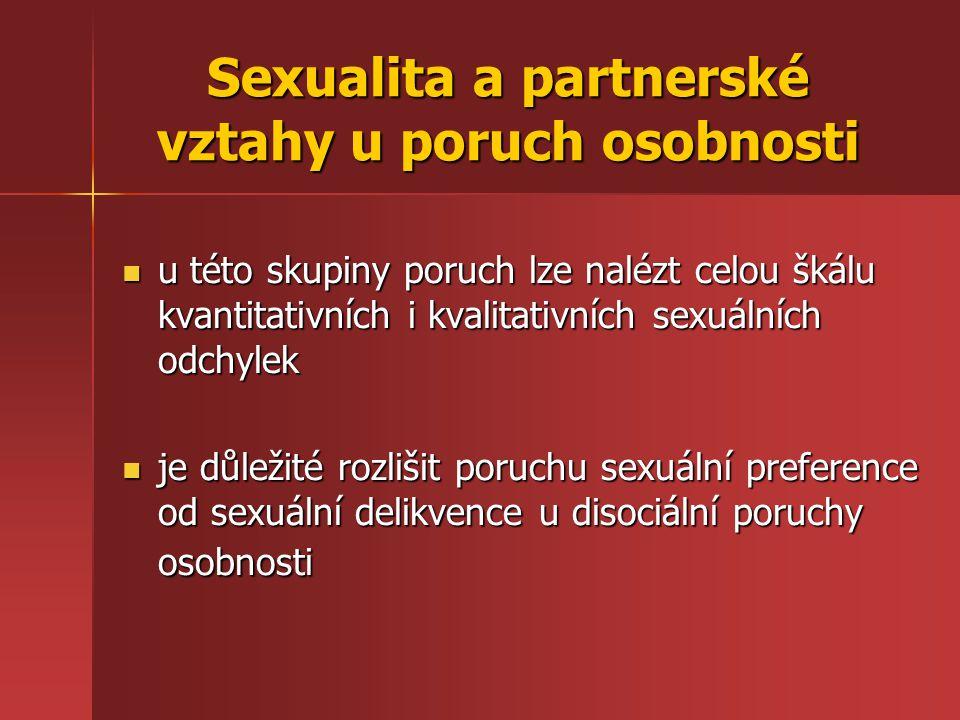 Sexualita a partnerské vztahy u poruch osobnosti