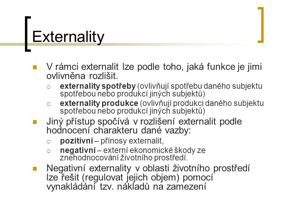 Externality V rámci externalit lze podle toho, jaká funkce je jimi ovlivněna rozlišit.