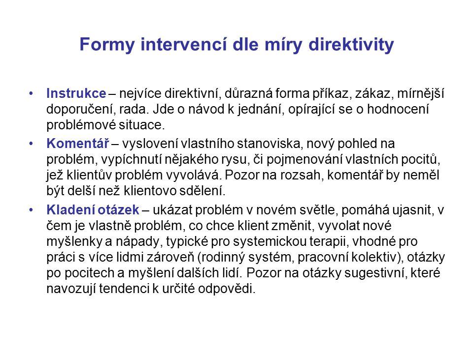 Formy intervencí dle míry direktivity