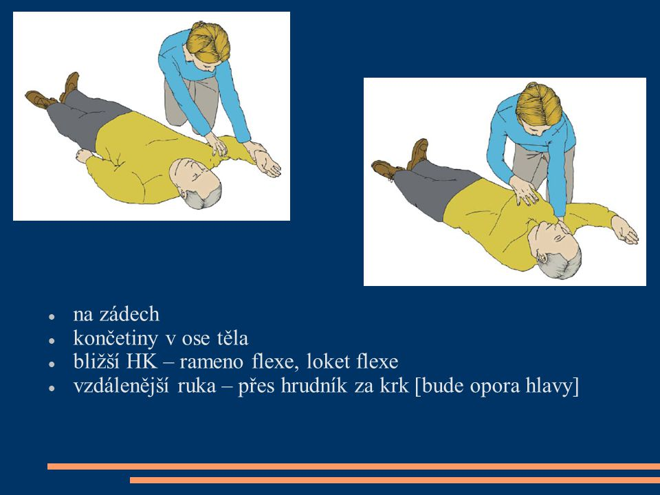 na zádech končetiny v ose těla. bližší HK – rameno flexe, loket flexe.