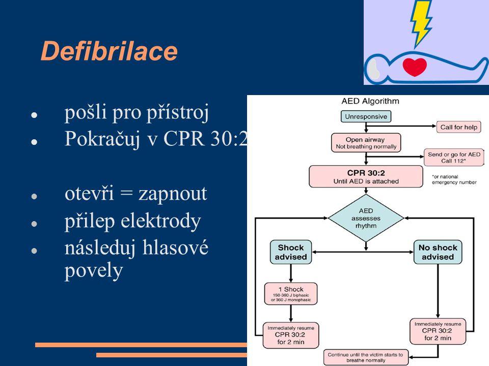 Defibrilace pošli pro přístroj Pokračuj v CPR 30:2 otevři = zapnout