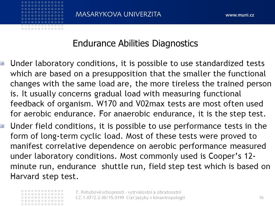 Endurance Abilities Diagnostics