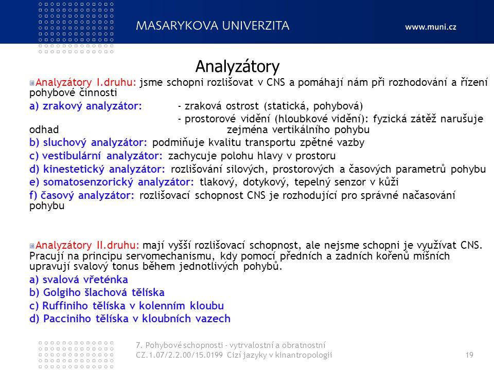 Analyzátory Analyzátory I.druhu: jsme schopni rozlišovat v CNS a pomáhají nám při rozhodování a řízení pohybové činnosti.