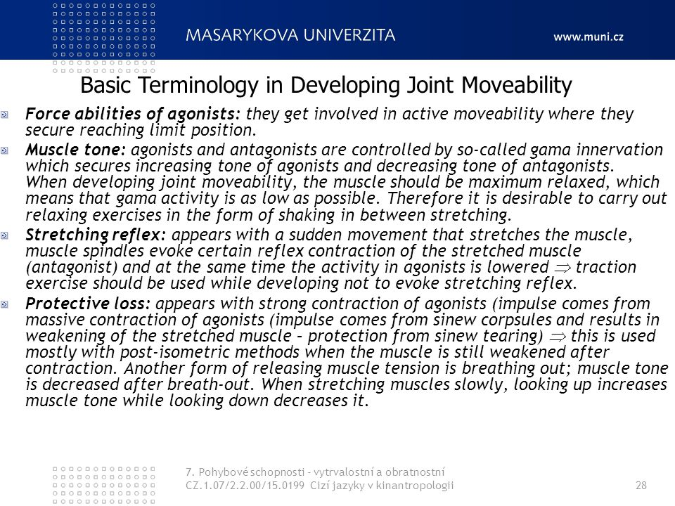 Basic Terminology in Developing Joint Moveability