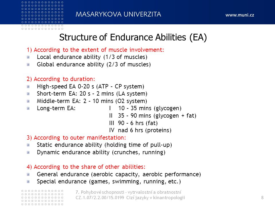 Structure of Endurance Abilities (EA)