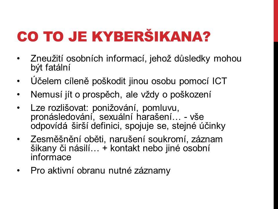 Co to je kyberšikana Zneužití osobních informací, jehož důsledky mohou být fatální. Účelem cíleně poškodit jinou osobu pomocí ICT.