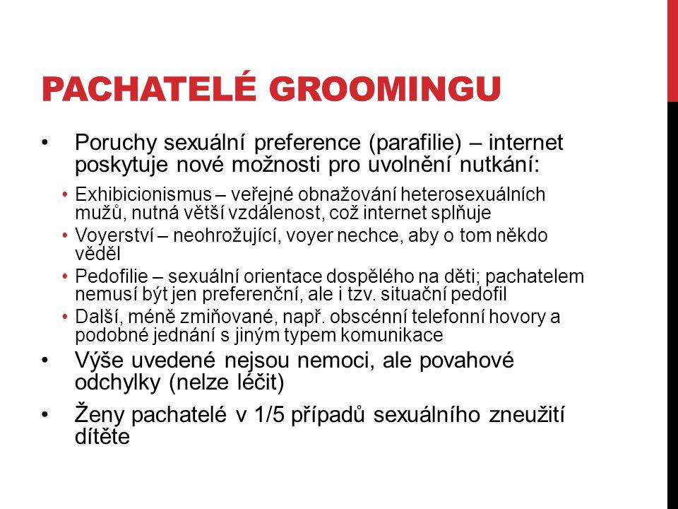 Pachatelé groomingu Poruchy sexuální preference (parafilie) – internet poskytuje nové možnosti pro uvolnění nutkání: