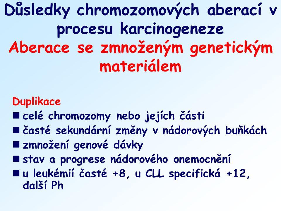 Důsledky chromozomových aberací v procesu karcinogeneze Aberace se zmnoženým genetickým materiálem