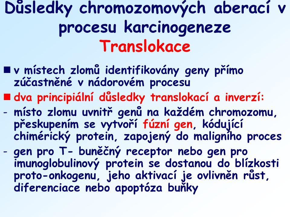 Důsledky chromozomových aberací v procesu karcinogeneze Translokace