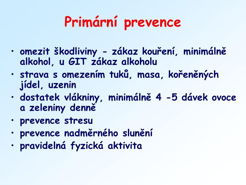Primární prevence omezit škodliviny - zákaz kouření, minimálně alkohol, u GIT zákaz alkoholu. strava s omezením tuků, masa, kořeněných jídel, uzenin.