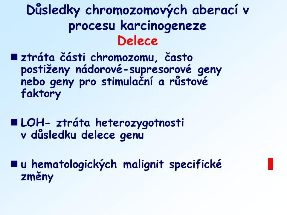 Důsledky chromozomových aberací v procesu karcinogeneze Delece