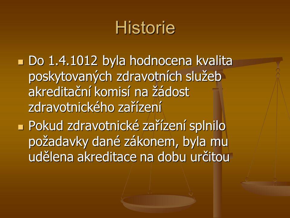 Historie Do 1.4.1012 byla hodnocena kvalita poskytovaných zdravotních služeb akreditační komisí na žádost zdravotnického zařízení.