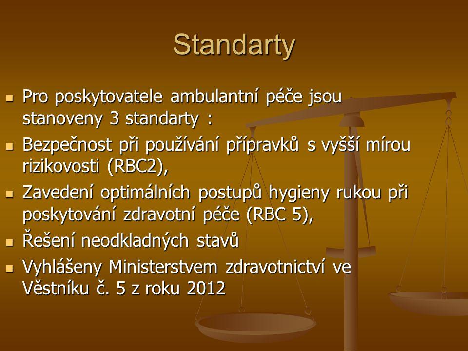 Standarty Pro poskytovatele ambulantní péče jsou stanoveny 3 standarty : Bezpečnost při používání přípravků s vyšší mírou rizikovosti (RBC2),