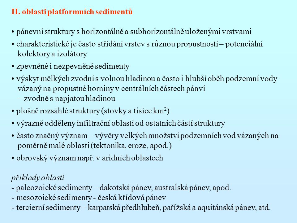 II. oblasti platformních sedimentů