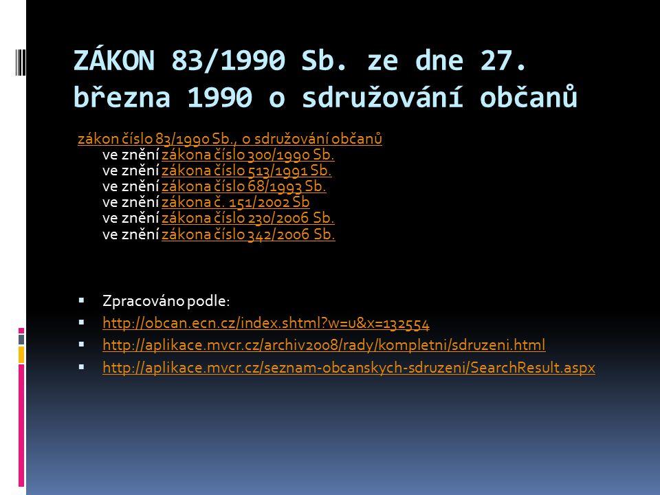 ZÁKON 83/1990 Sb. ze dne 27. března 1990 o sdružování občanů