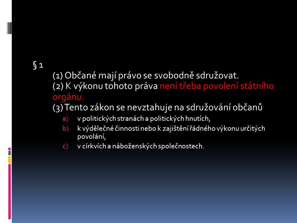 § 1 (1) Občané mají právo se svobodně sdružovat