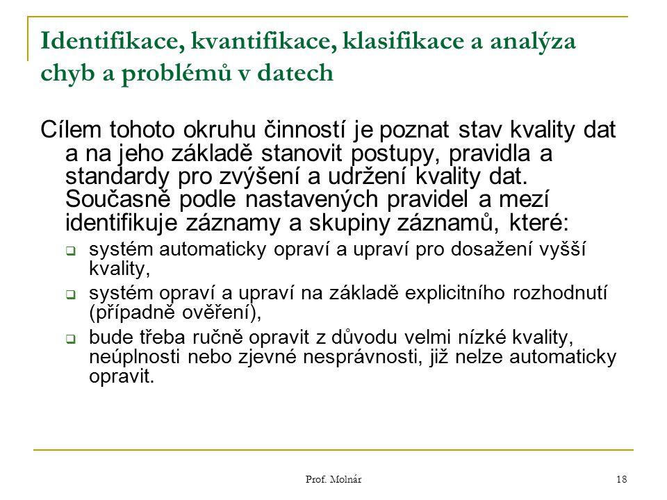 Identifikace, kvantifikace, klasifikace a analýza chyb a problémů v datech