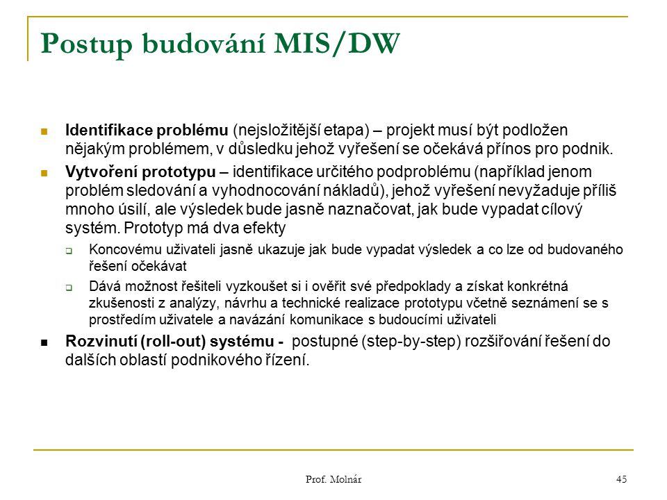 Postup budování MIS/DW