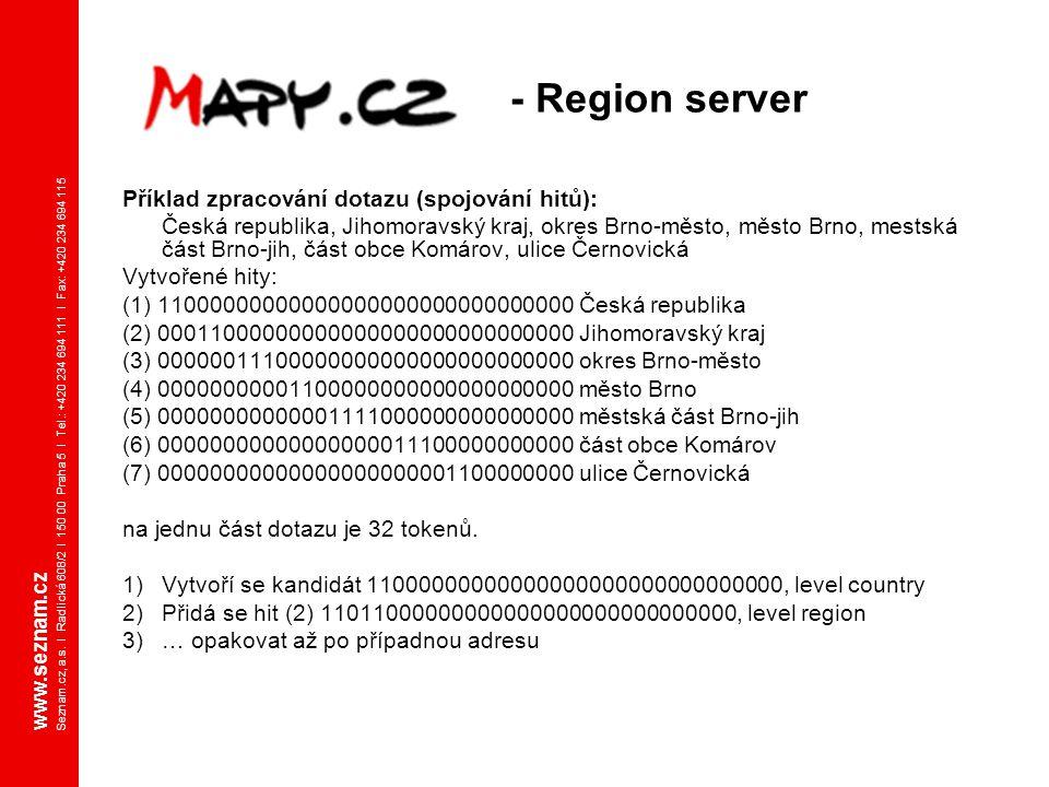 - Region server Příklad zpracování dotazu (spojování hitů):