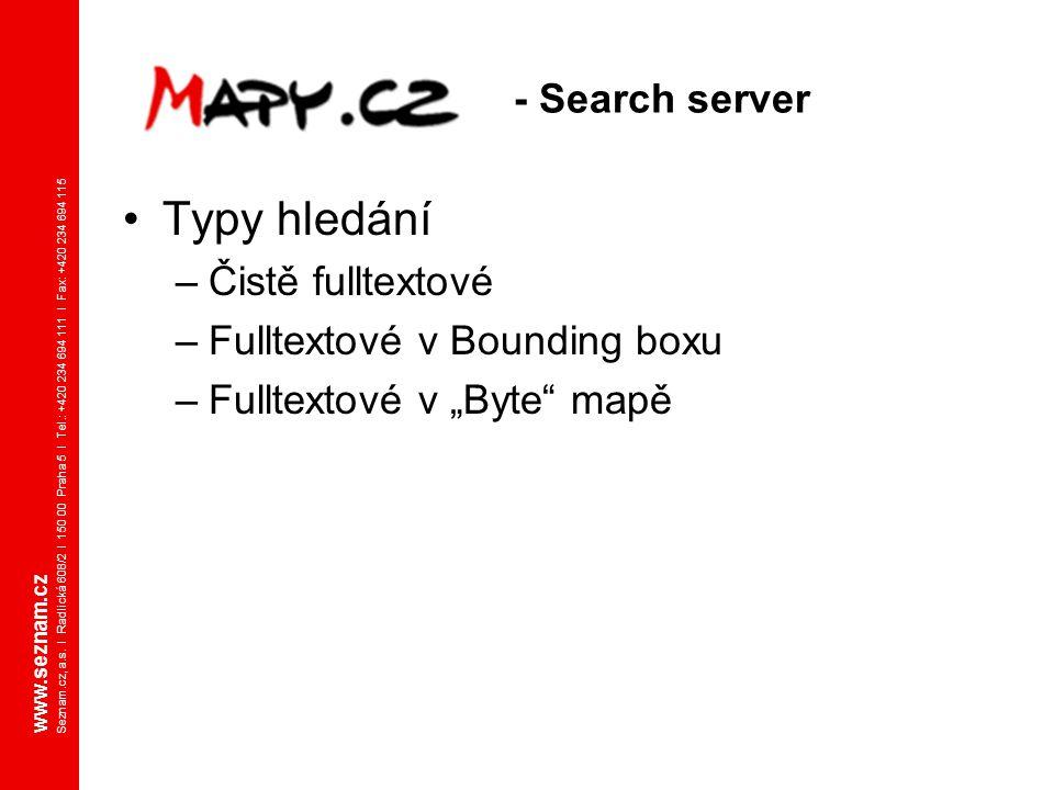 Typy hledání - Search server Čistě fulltextové