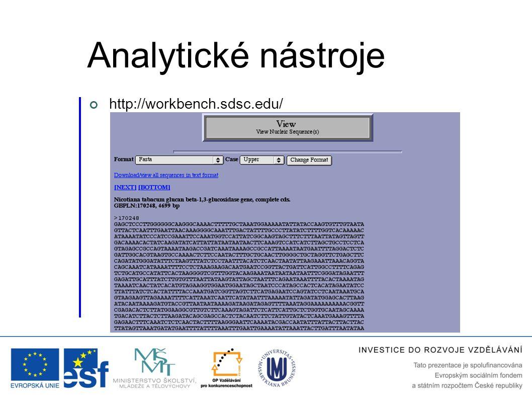 Analytické nástroje http://workbench.sdsc.edu/