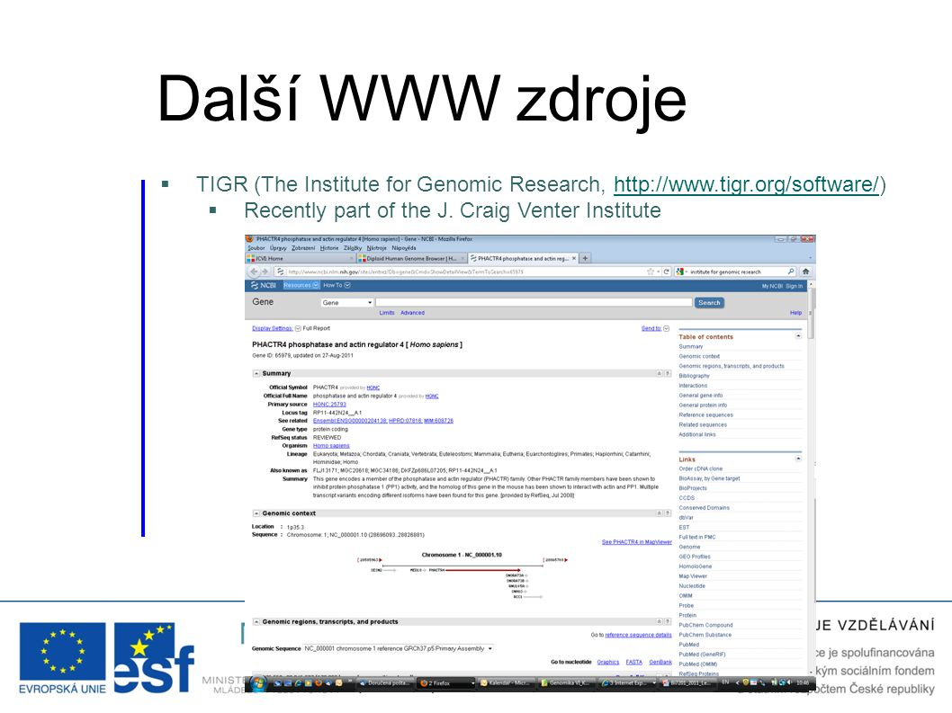 Další WWW zdroje TIGR (The Institute for Genomic Research, http://www.tigr.org/software/) Recently part of the J.
