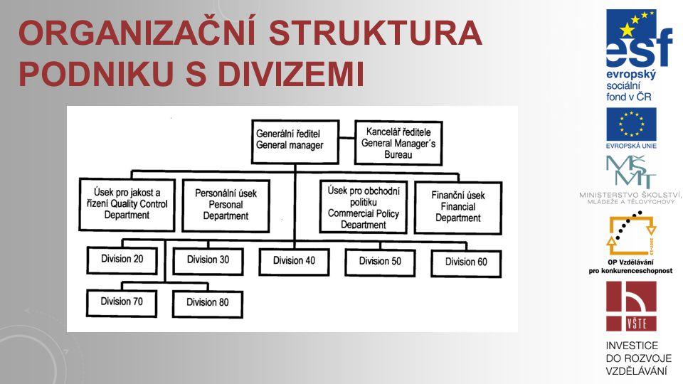 Organizační struktura podniku s divizemi