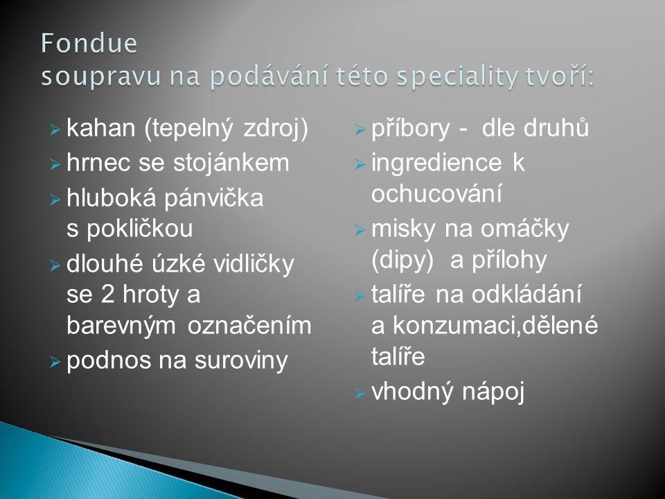 Fondue soupravu na podávání této speciality tvoří: