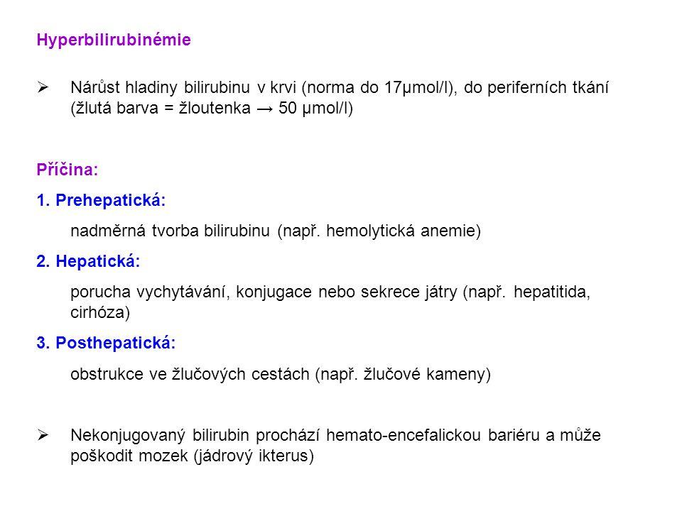 Hyperbilirubinémie Nárůst hladiny bilirubinu v krvi (norma do 17μmol/l), do periferních tkání (žlutá barva = žloutenka → 50 μmol/l)