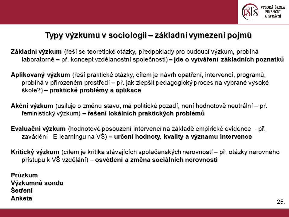 Typy výzkumů v sociologii – základní vymezení pojmů