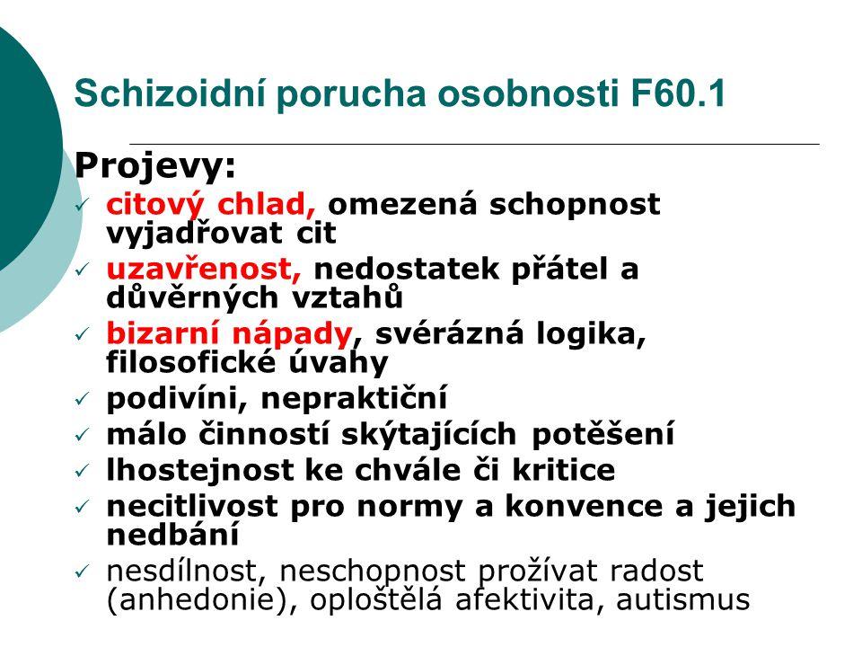Schizoidní porucha osobnosti F60.1
