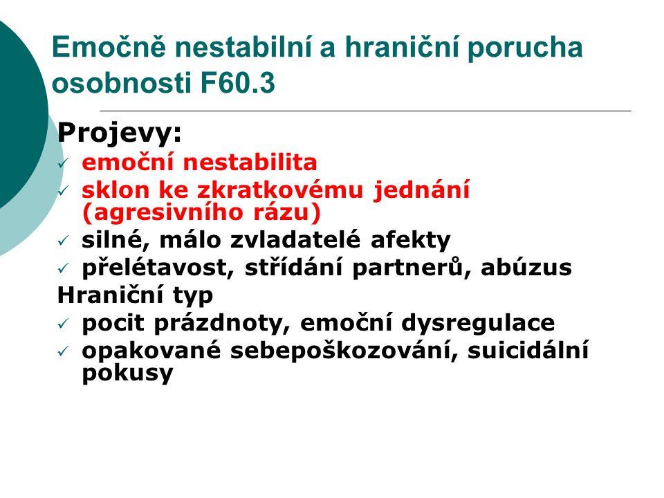 Emočně nestabilní a hraniční porucha osobnosti F60.3