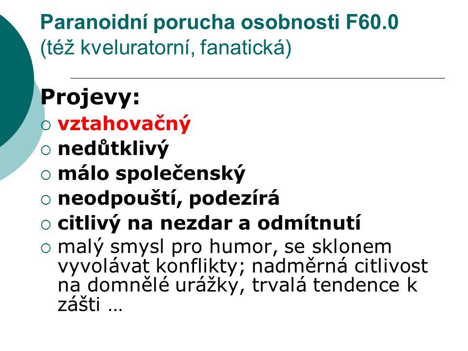 Paranoidní porucha osobnosti F60.0 (též kveluratorní, fanatická)