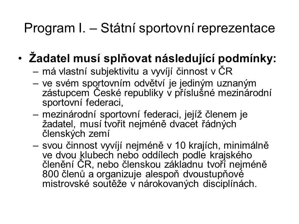 Program I. – Státní sportovní reprezentace