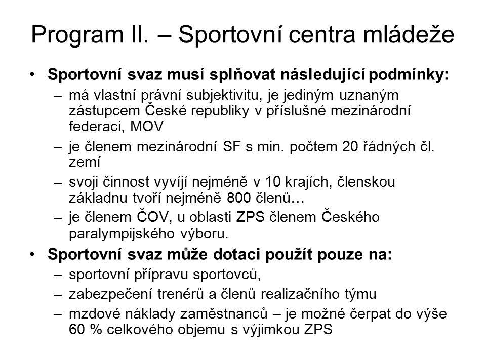 Program II. – Sportovní centra mládeže