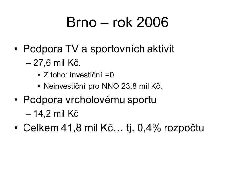 Brno – rok 2006 Podpora TV a sportovních aktivit