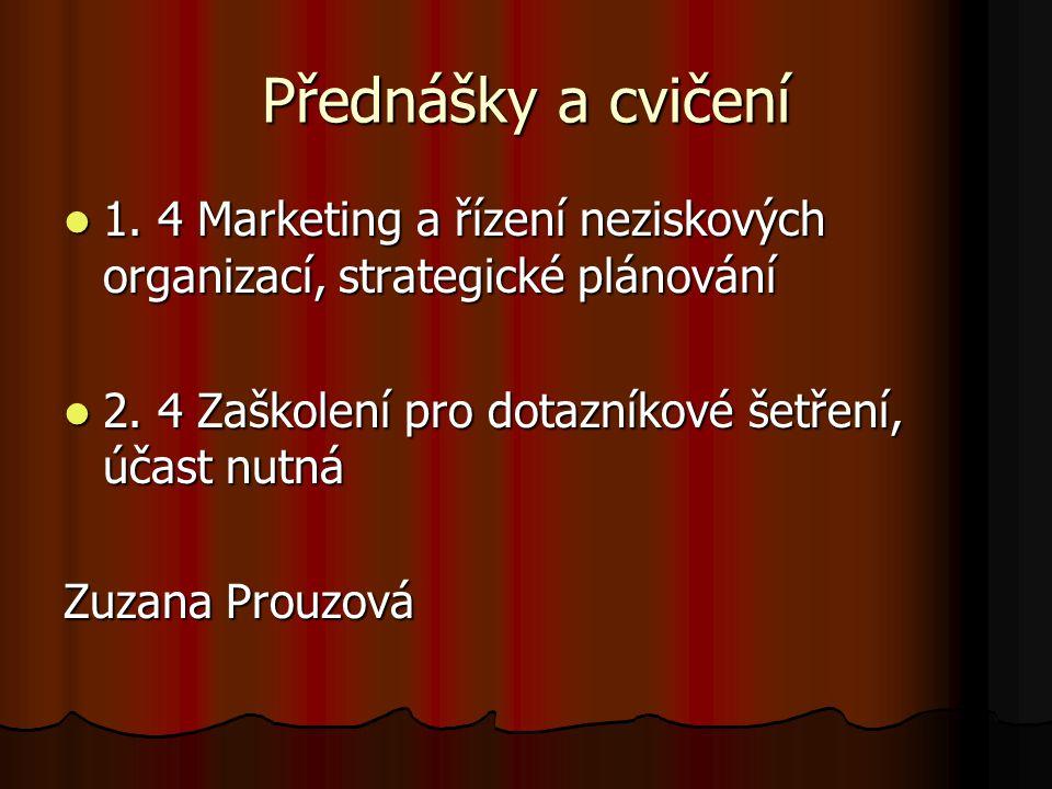 Přednášky a cvičení 1. 4 Marketing a řízení neziskových organizací, strategické plánování. 2. 4 Zaškolení pro dotazníkové šetření, účast nutná.